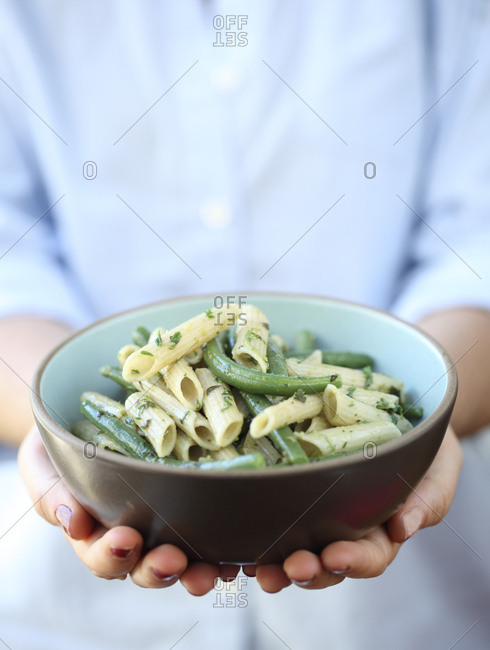 Pasta with fresh green beans