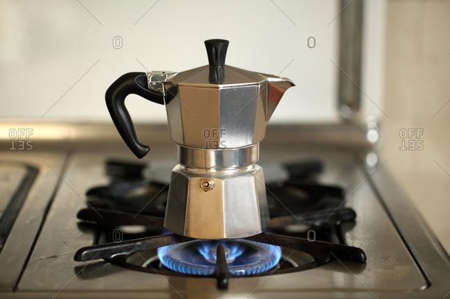 Pot on gas cooker, San Francisco, USA