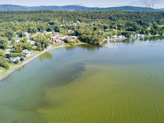 Algae bloom on Lake Champlain, St. Albans Bay, St. Albans, Vermont, USA