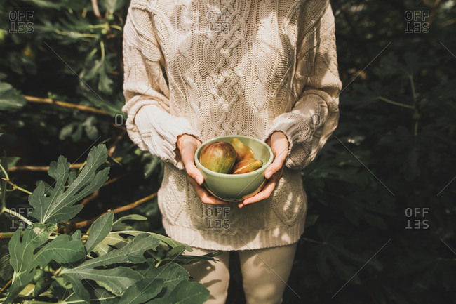 Woman holding bowl full of fresh figs