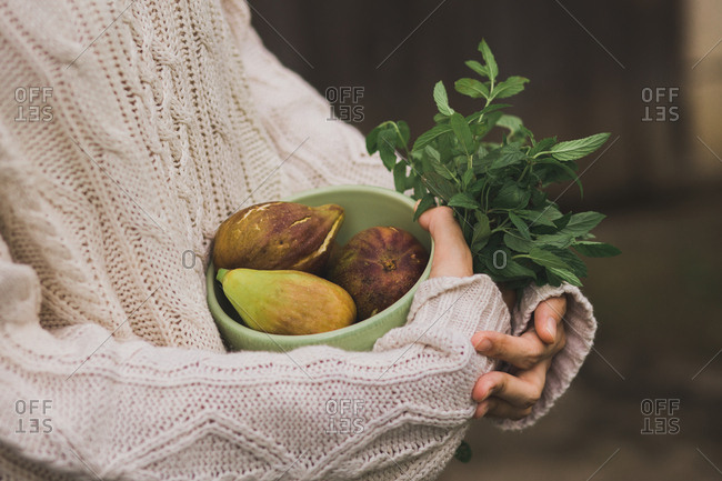 Woman holding bowl full of fresh figs  and handful of peppermint