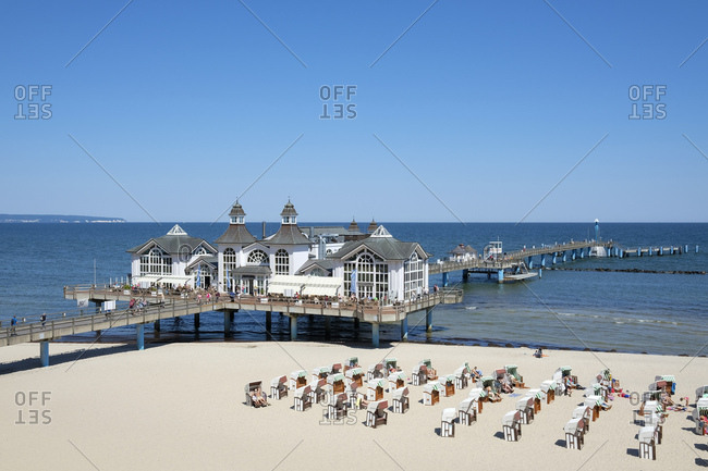 May 24, 2018: Germany- Mecklenburg-Western Pomerania- Ruegen- Baltic sea- View to Sellin Pier at beach