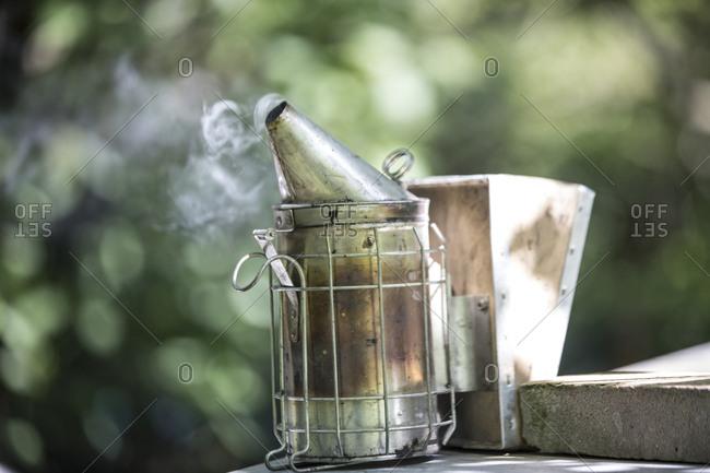 Smoker of an beekeeper making smoke