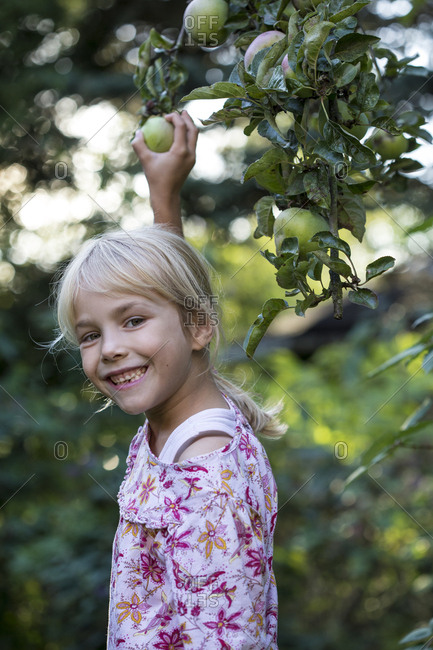 Portrait of laughing girl picking apple from tree