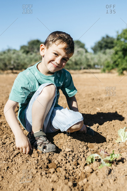 Spain- Tarragona. Boy looking at camera after planting lettuce in the garden
