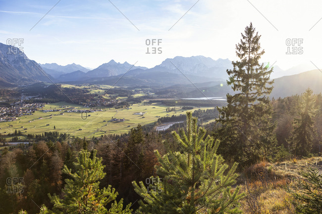 Kreplschrofen- View to Wallgau- Kruen- Isar- Bavarian Prealps- Wallgau- Germany