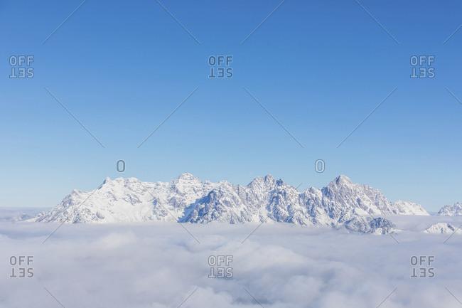 View over snowy mountains at sunshine- Saalbach Hinterglemm- Pinzgau- Austria
