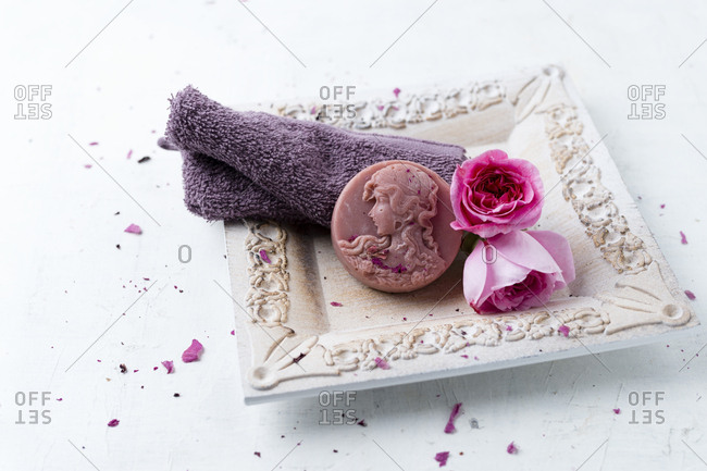 Homemade rose soap- flower and washcloth