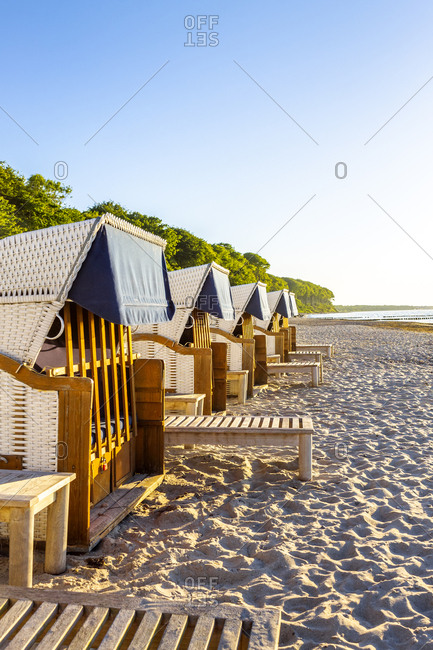 Hooded beach chairs at the beach- Heiligendamm- Germany