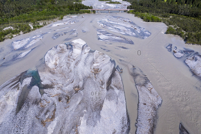Aerial view over gravel banks in Lech river- Lech valley- Tyrol- Austria