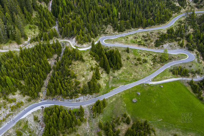 Aerial view over serpentines at Hahntennjoch- Lech valley- Tyrol- Austria