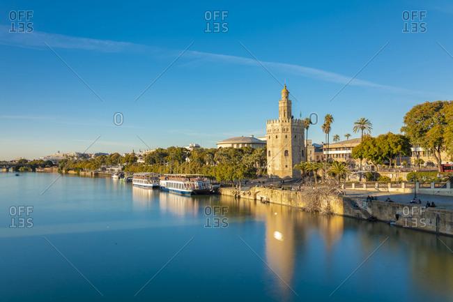 January 26, 2019: Long exposure of Torre del oro at Guadalquivir river- Seville- Spain