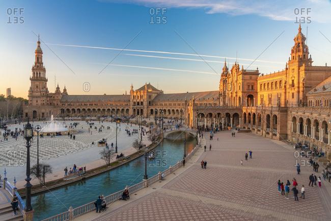 January 26, 2019: Long exposure of The Plaza de Espana- Seville- Spain
