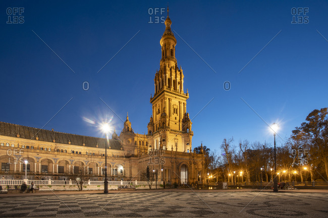 January 26, 2019: The Plaza de Espana at night- Seville- Spain