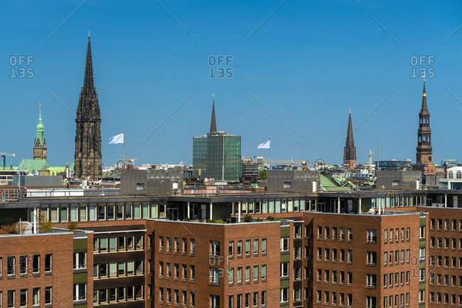 August 29, 2018: Cityscape with Memorial of St Nikolai seen from Elbphilharmonie- Hamburg- Germany