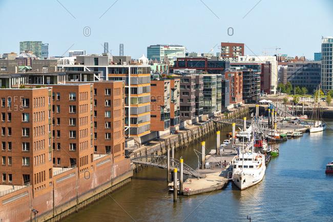 August 29, 2018: Hafencity seen from Elbphilharmonie- Hamburg- Germany