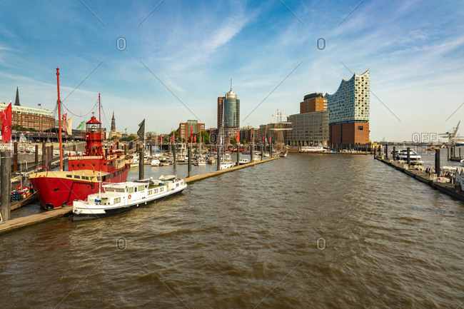 August 29, 2018: Landing Stages and Elbphilharmonie- Hamburg- Germany