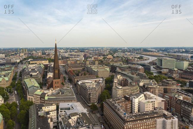 Cityscape with St. James' Church- old town and  St. Georg- Hamburg- Germany