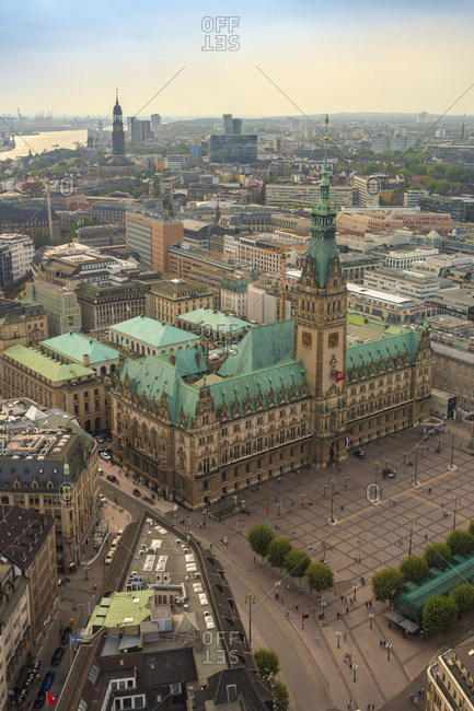 August 29, 2018: Cityscape with city hall and old town- Hamburg- Germany