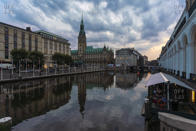 August 29, 2018: Little Alster and city hall at dusk- Hamburg- Germany