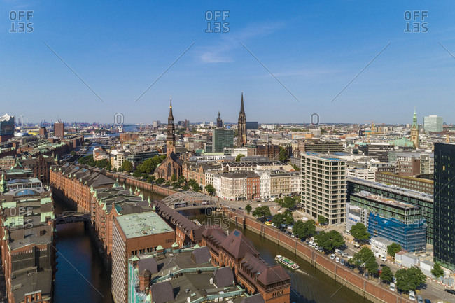August 29, 2018: Cityscape with old town and new town- Hamburg- Germany