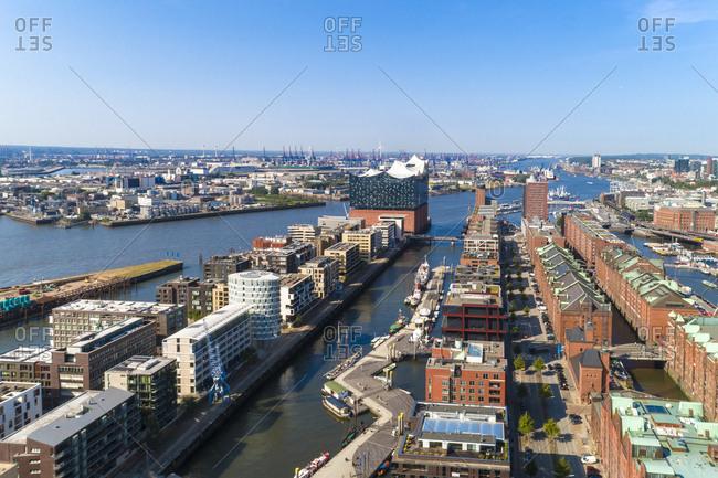 Cityscape with Hafencity- Speicherstadt and Elbphilharmonie- Hamburg- Germany