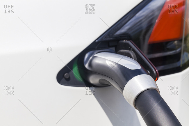 Charging of an electric car- close-up