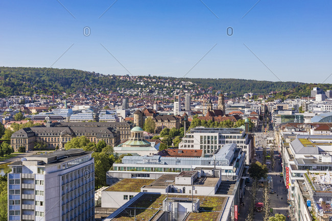 May 14, 2019: View over downtown Stuttgart with Koenigstrasse- Germany