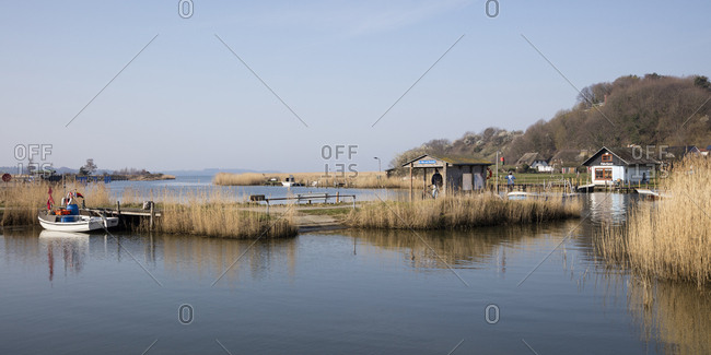 April 3, 2019: View to ferry dock- Moritzdorf- Moenchgut- Ruegen- Germany