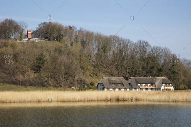 April 3, 2019: Thatched-roof houses- Moritzdorf- Moenchgut- Ruegen- Germany