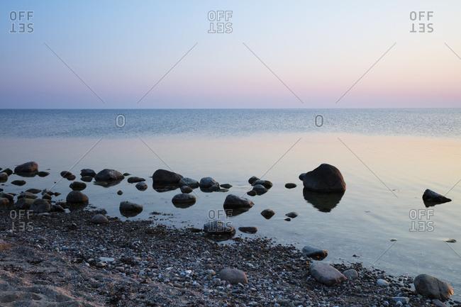 Coast at evening twilight- Klein Zicker- Moenchgut- Ruegen- Germany