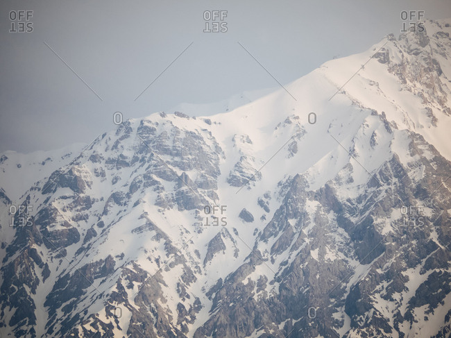 Snowy mountain range in Uzbekistan