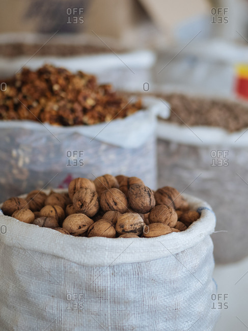 Nuts in bags for sale in market in Uzbekistan