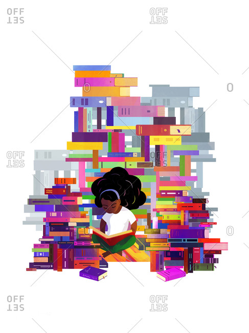 A girl reading surrounded by piles of books