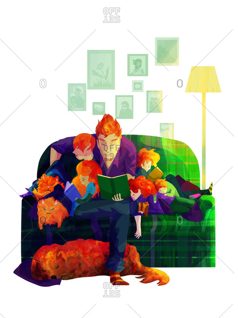 A family reading together - Offset