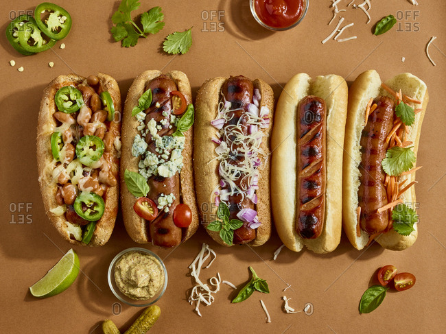 Spread of gourmet hot dogs