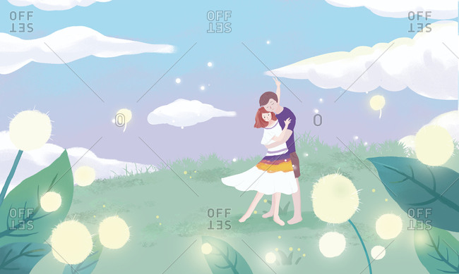 Romantic couples illustrations