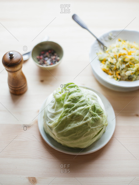Raw fresh cabbage on plate