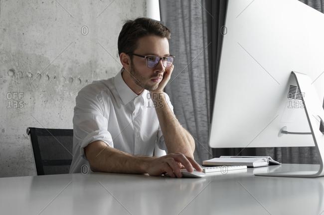 Businessman working at computer