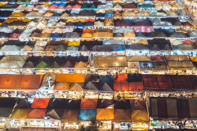 January 31, 2019: High angle view of night market in Bangkok, Thailand