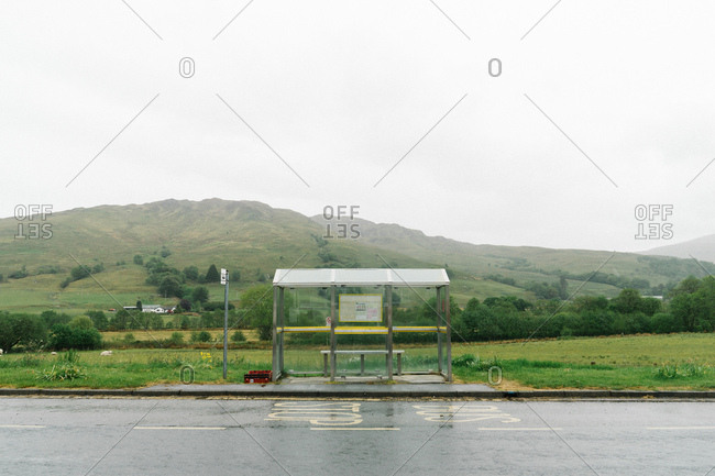 Rural bus stop in Scotland