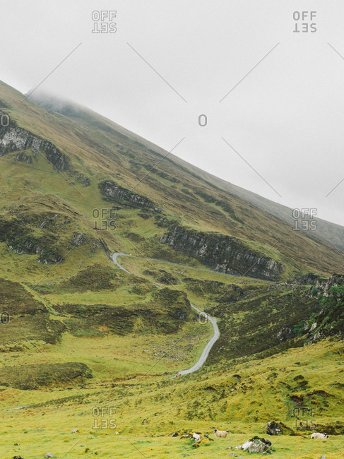 Winding road leading through the Scottish Highlands in Scotland