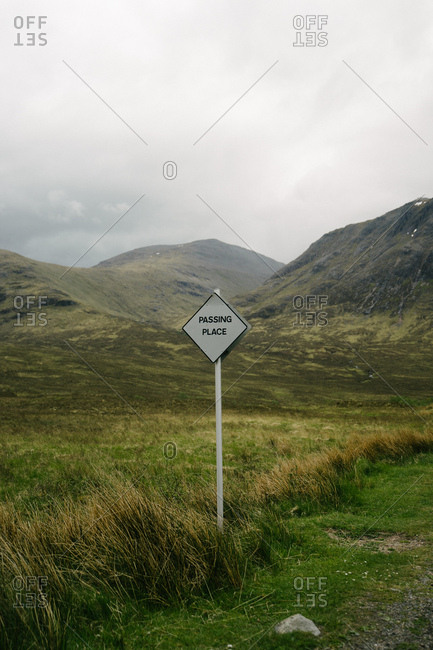 Passing Place sign in rural Scotland