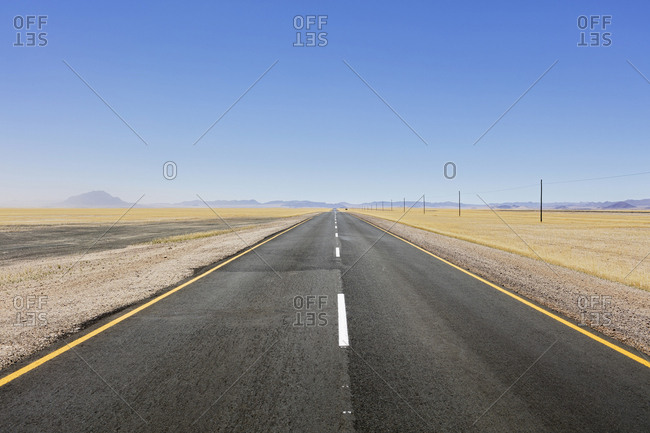 Straight road at Namib desert, Namibia, Africa