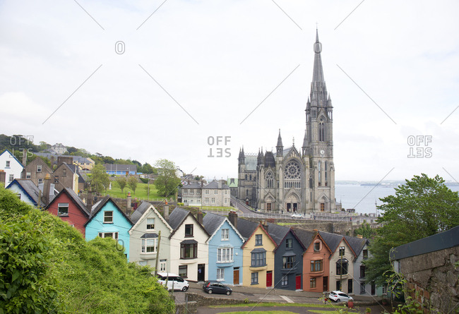 View of row houses and cathedral in Cobb, Ireland