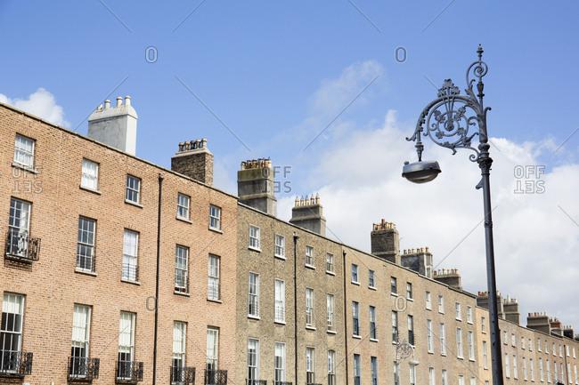 Row of Georgian homes and lamp post, Dublin, Ireland