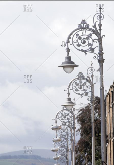 Ornate lamp posts in street, Dublin, Ireland