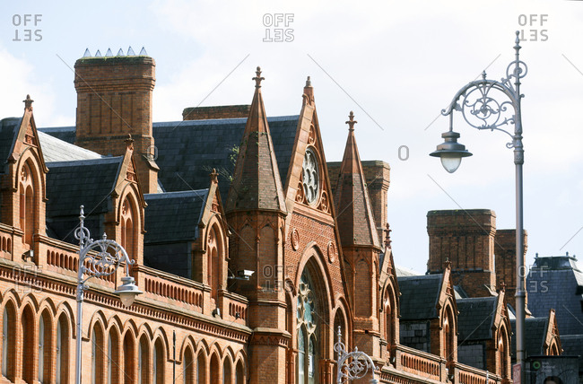 Ornate building rooftops and facade in the center of Dublin, Ireland