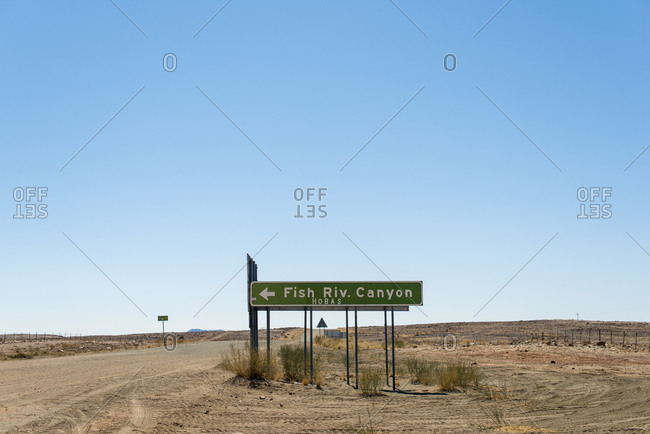 A sign in southern Namibia points the way to Fish River Canyon