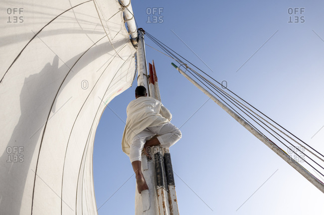 An Egyptian man stands on the bow of a traditional Felucca sailboat with wooden masts and cotton sails on the Nile river